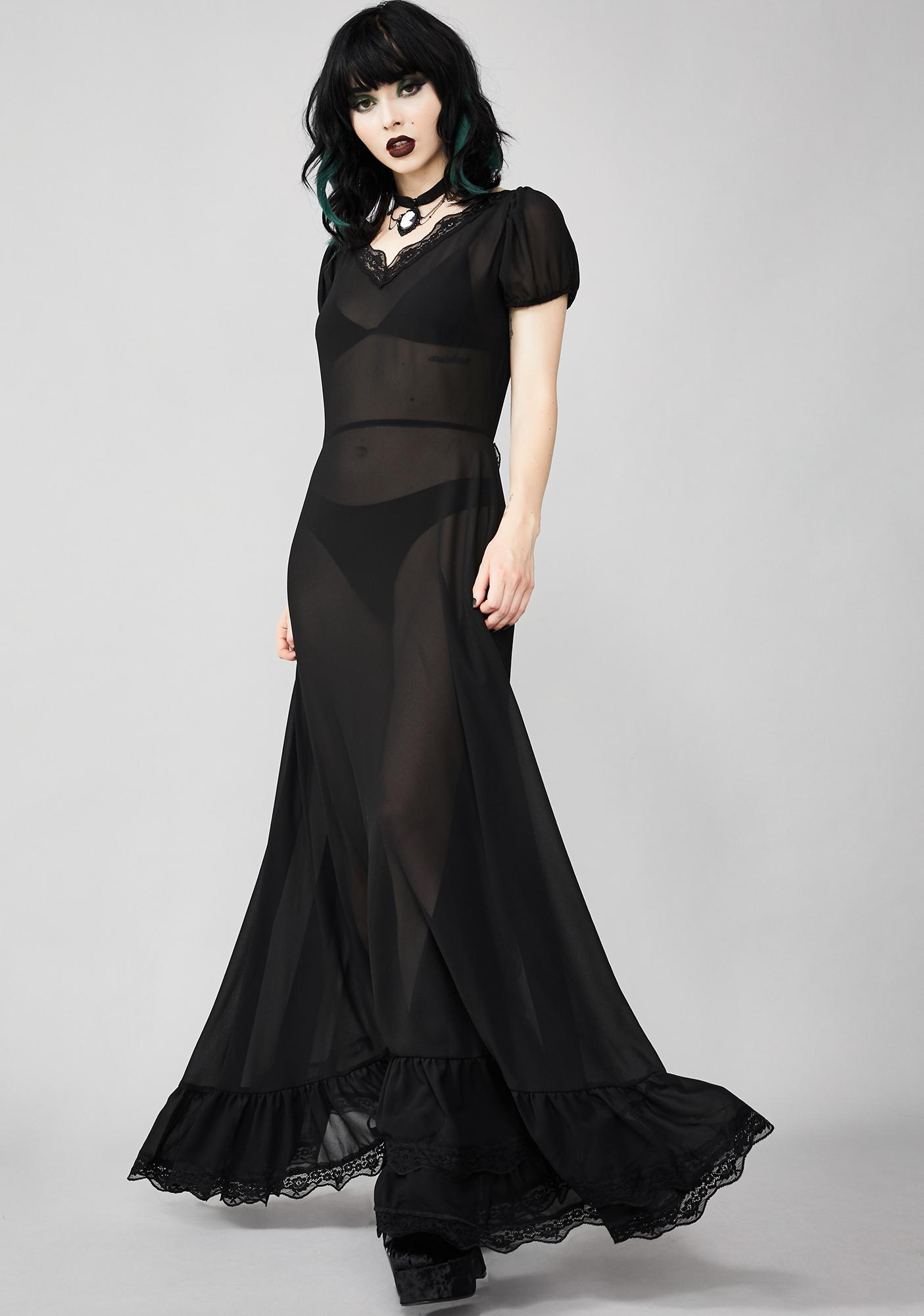 Widow Sheer Deadication Maxi Dress