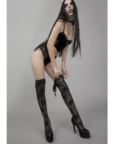 Unspeakable Secrets Lace Thigh High Boots