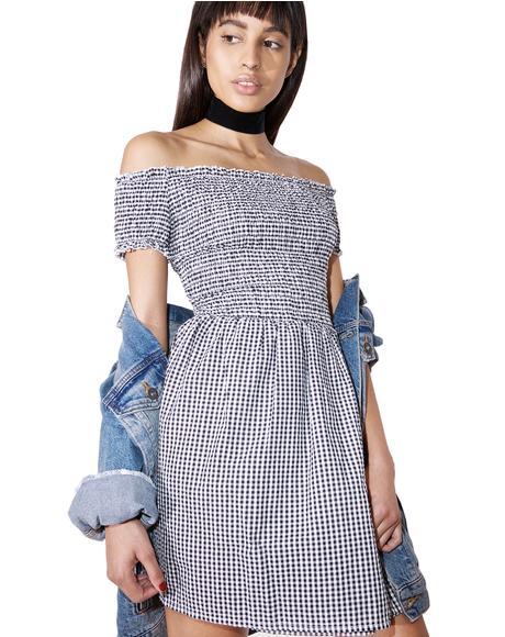 Simpler Times Off-Shoulder Dress