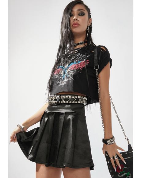 Noir Pretty Liars Satin Pleated Mini Skirt