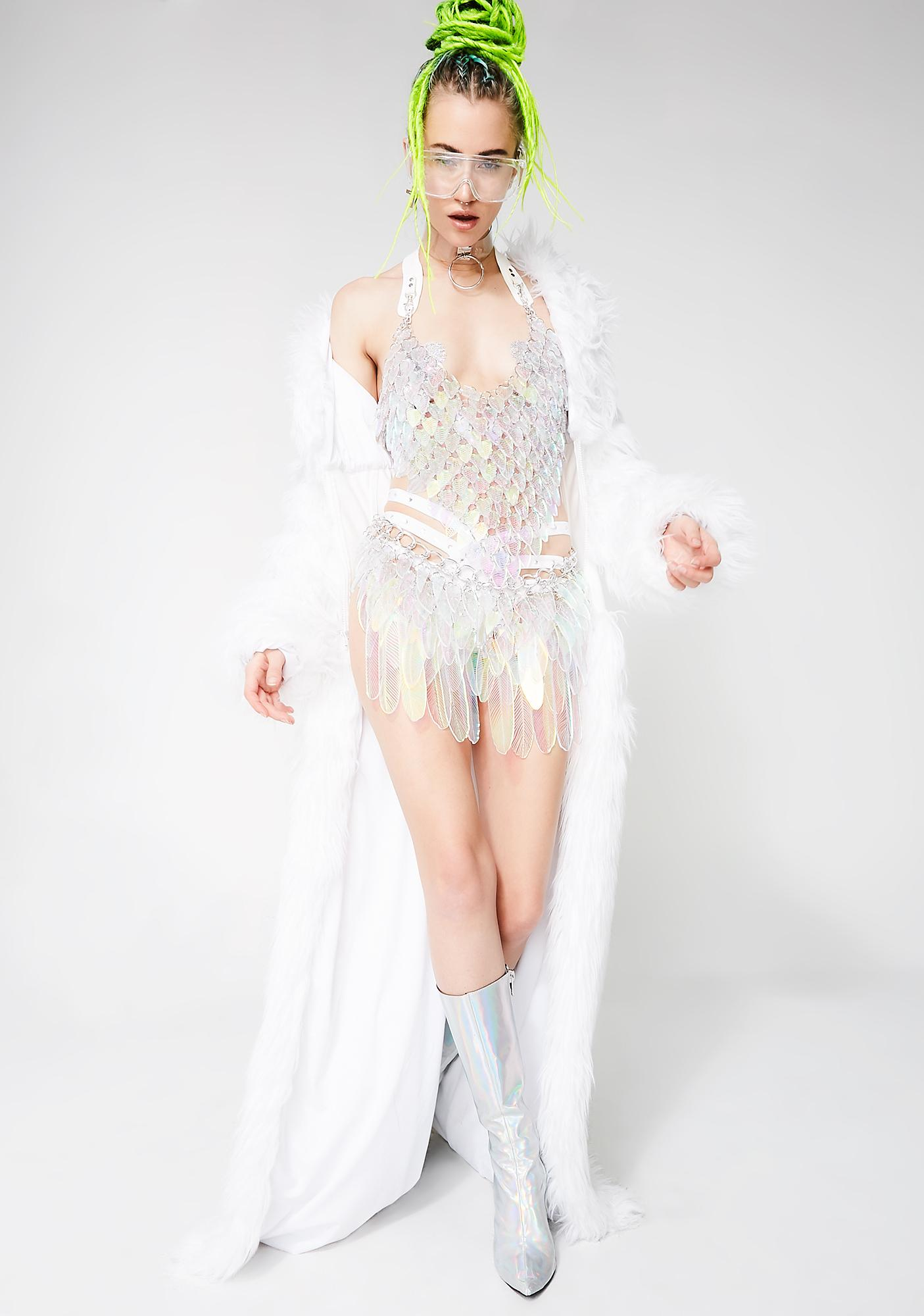 Electric Candy Couture Illuminated Iridescent Tail Feather Skirt