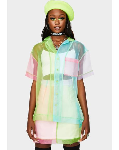 Cassette Color Block Organza Shirt