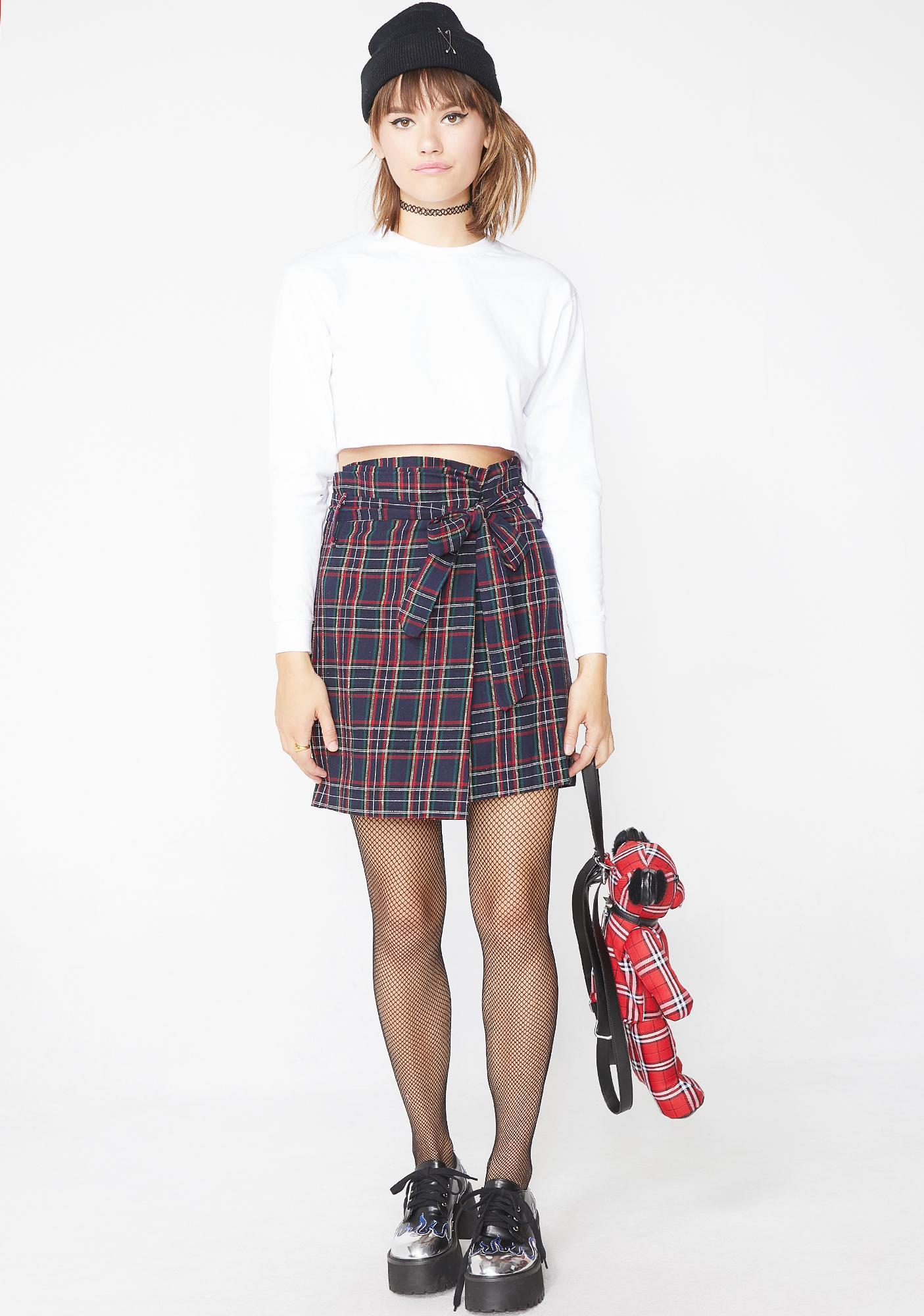 Navy Rude AF Plaid Skirt