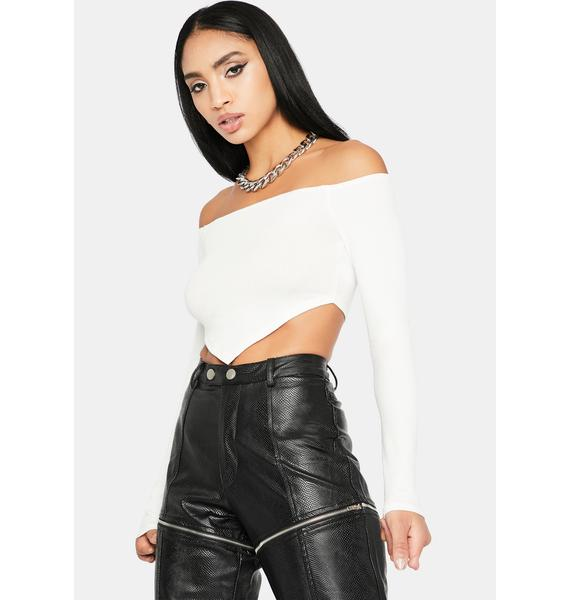Bliss Party Don't Stop Off Shoulder Crop Top