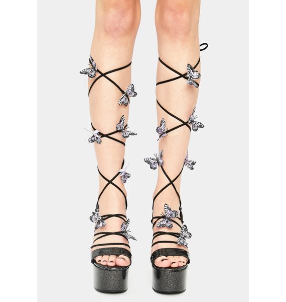 HOROSCOPEZ Night Sparkle Pixie Queen Lace-Up Heels