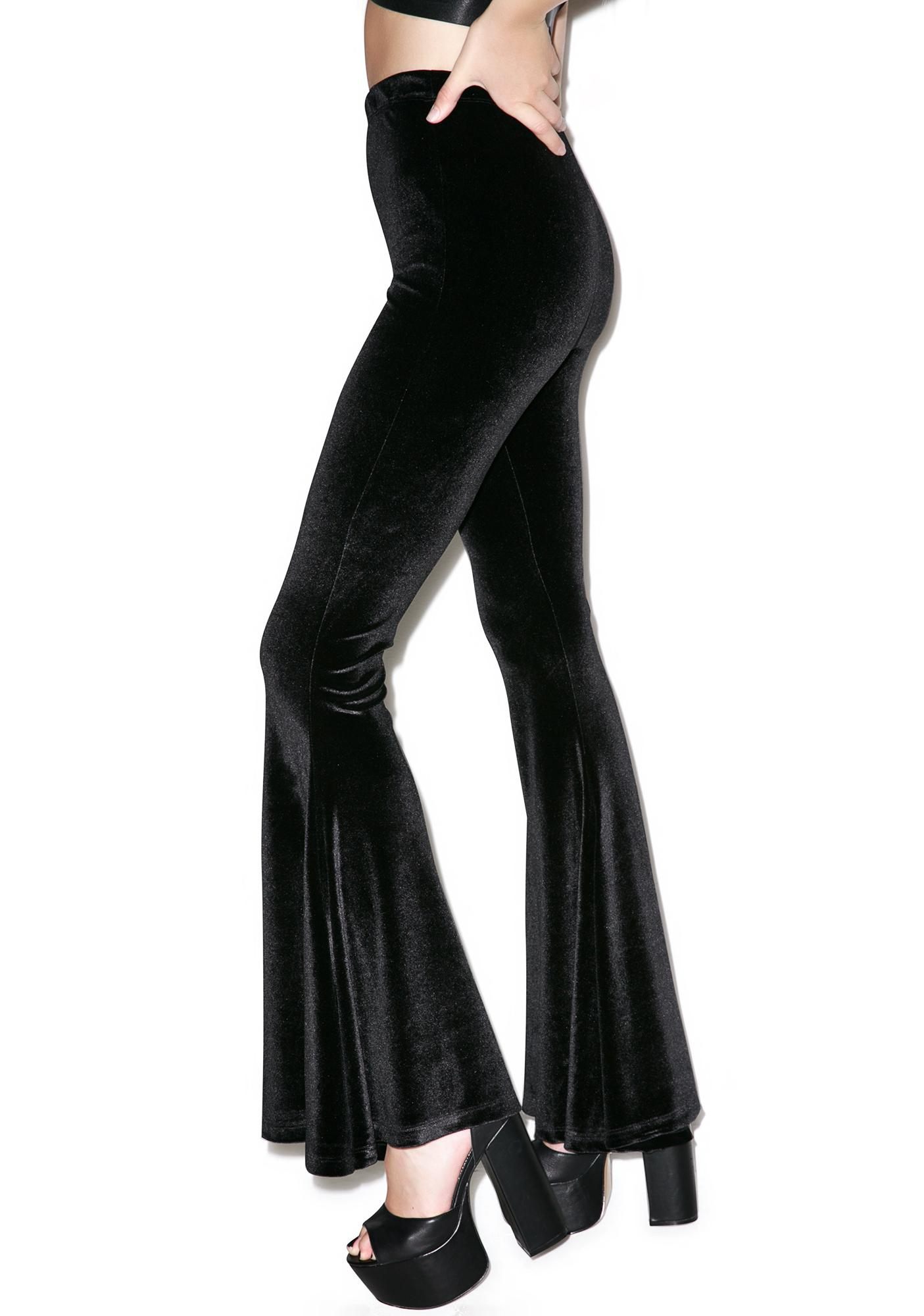 Widow Obsidian Velvet Stretch Bell Bottom