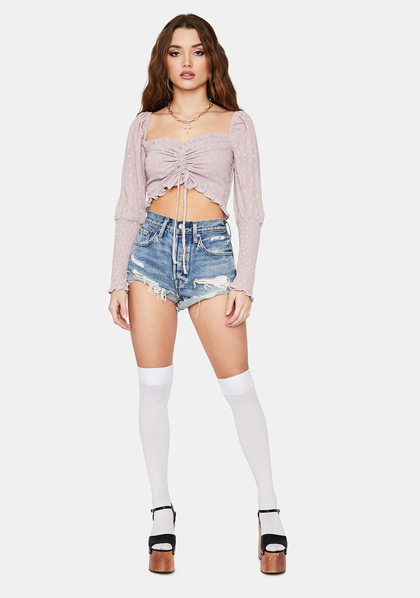 Lilac Not So Secret Tie Crop Top