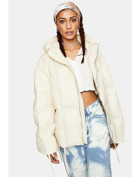 Cream Pull Up Puffer Jacket