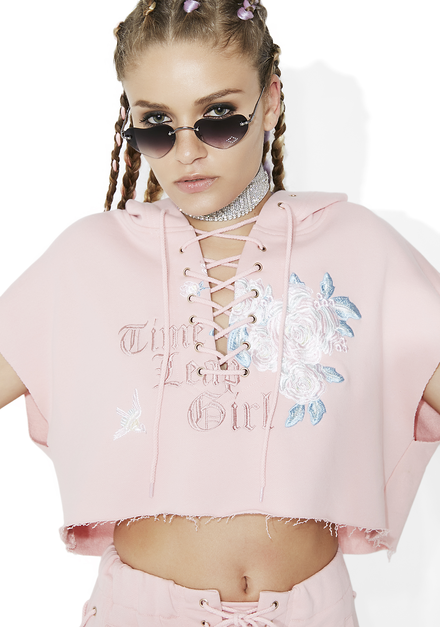 one spo Time Leap Girl Cropped Hoodie