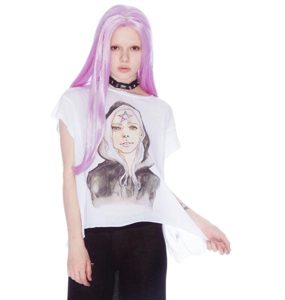 Wildfox Couture Dahlia Character Drawing Jagged Edge Tee