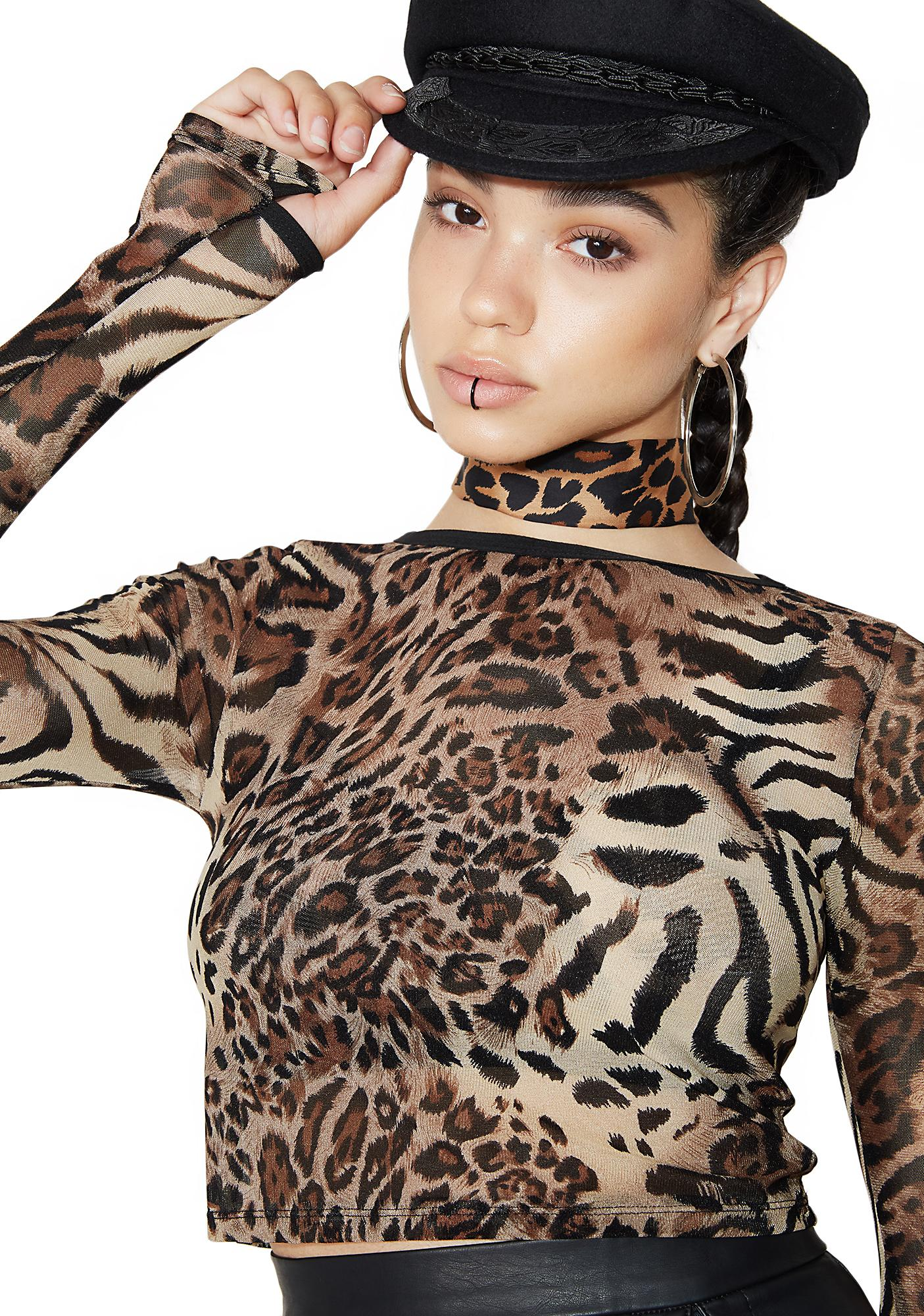 Poster Grl Kitty's Got Claws Mesh Top