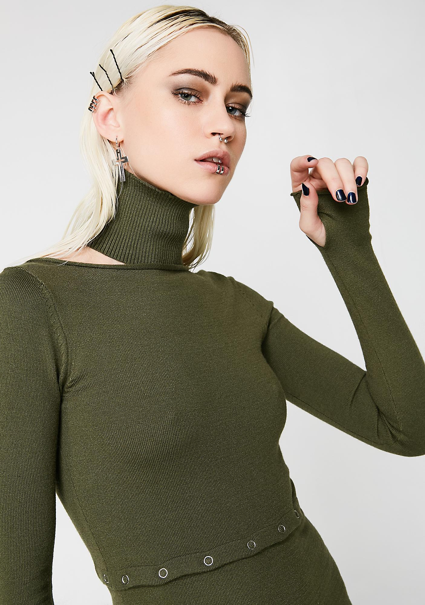 Punk Rave Green Cut Off Grommet Sweater