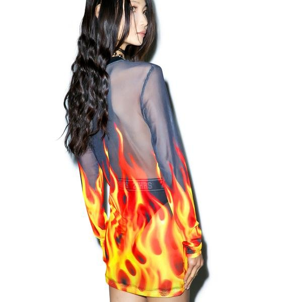 24HRS X Dolls Kill Burnin' Up Long Sleeve Dress