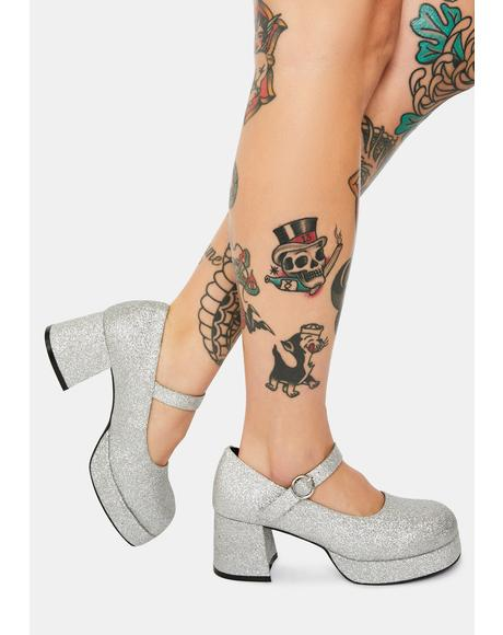 Silver Recess Junkie Glitter Mary Janes