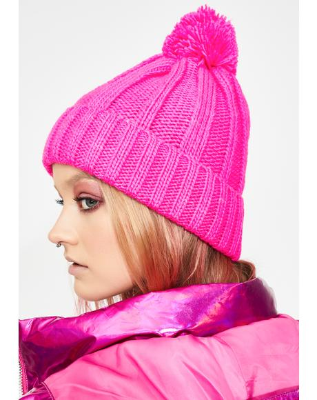 Candy Chill Mode Pom Pom Beanie