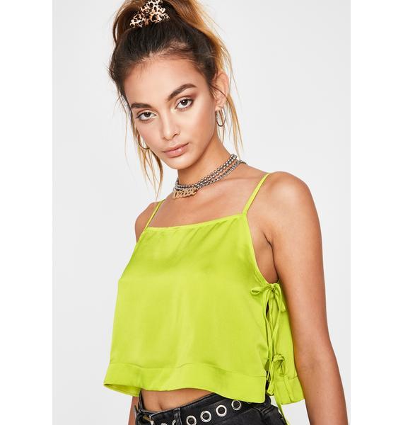Chartreuse Let Loose Crop Top