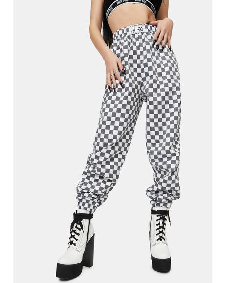 White Checkerboard Trousers
