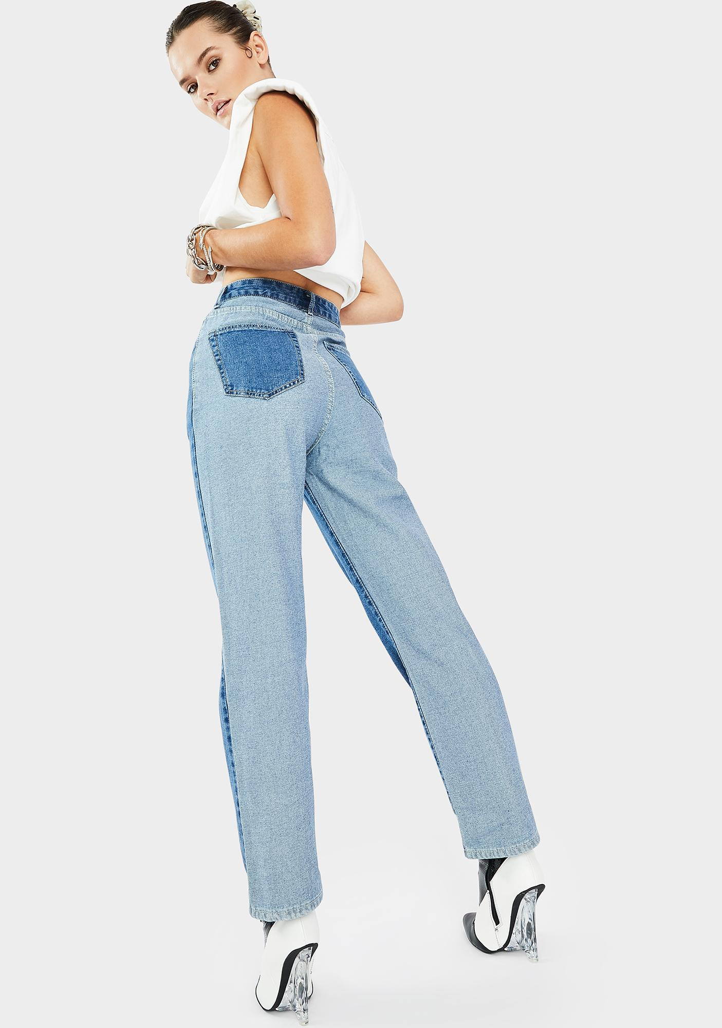 THE KRIPT Two Tone High Rise Jeans