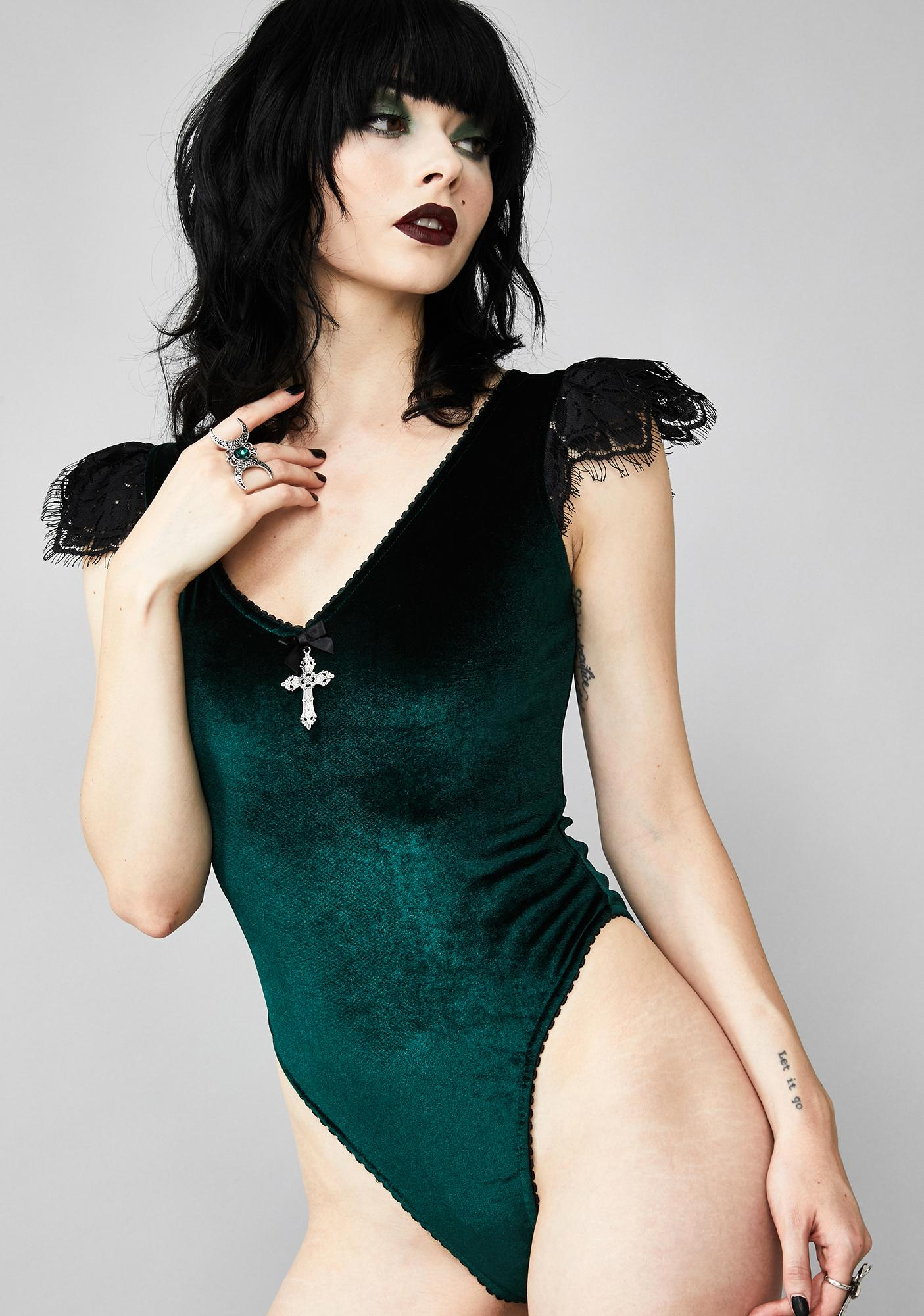 Widow Stained Glass Heart Lace-Up Bodysuit