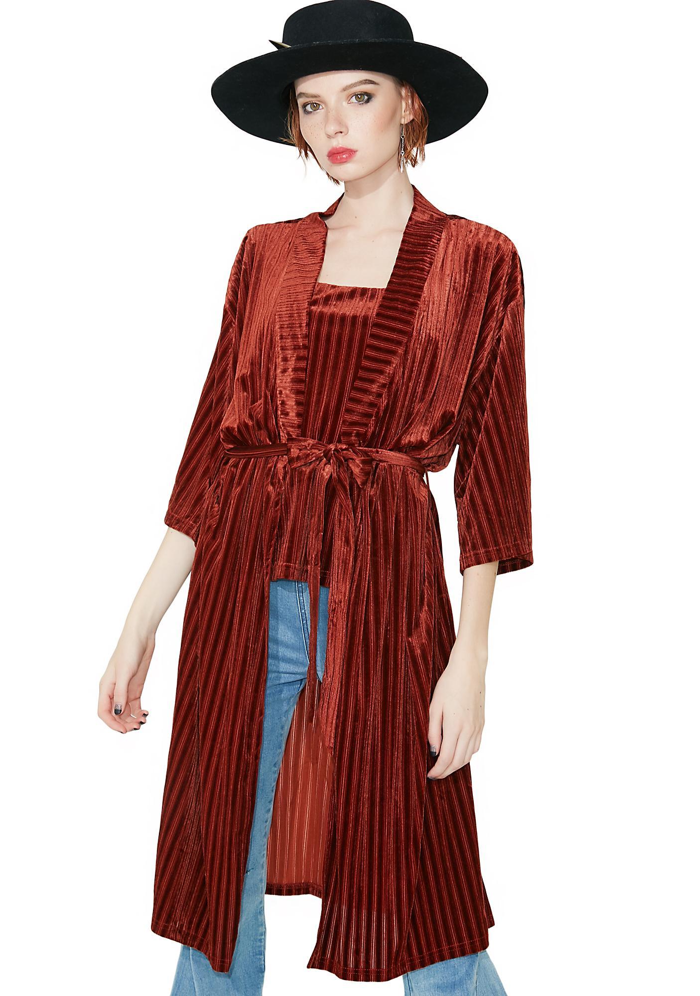First Impressions Striped Kimono