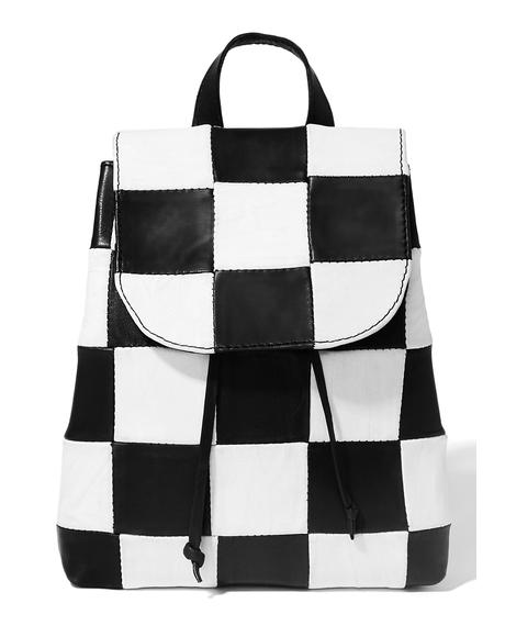 Checkered Leather Backpack