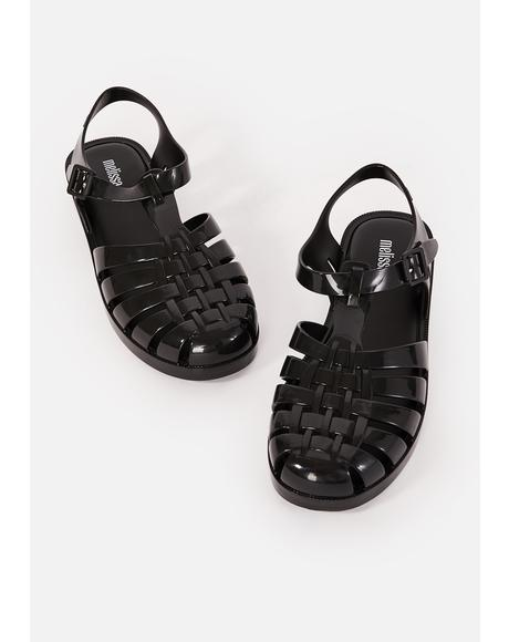 Dark Possession Shiny Jelly Sandals