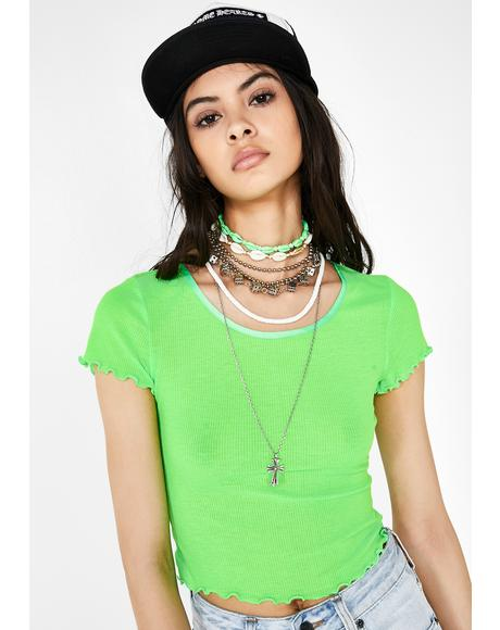 Lime When In Doubt Crop Top