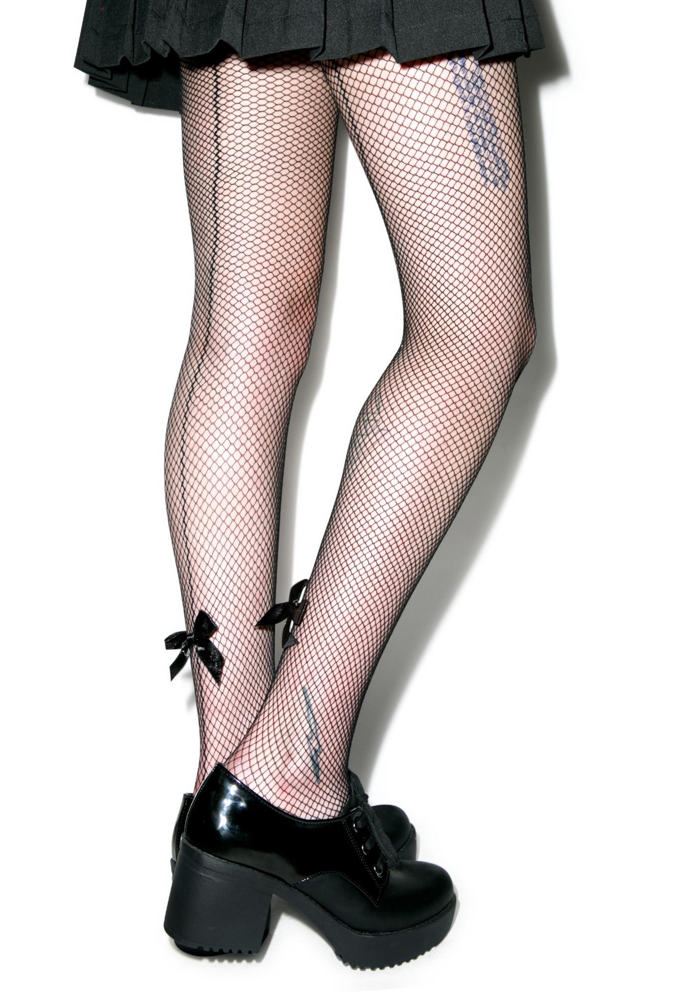 J'adore Mon Bow Backseam Fishnet Tights