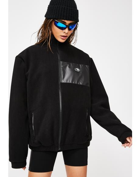 Black Fleece Zip Up Sweater
