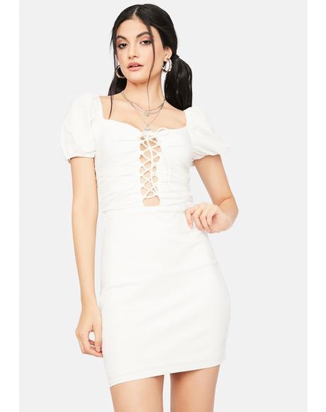 Pure Seeking Answers Lace Up Mini Dress
