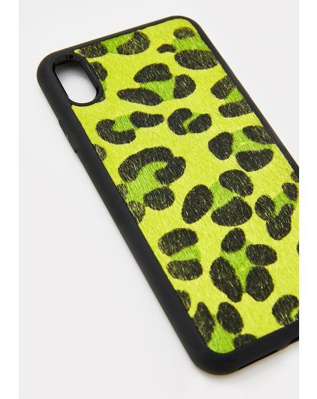 Neon Green Leopard IPhone Case