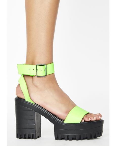 Neon Green Avenue Platform Heels