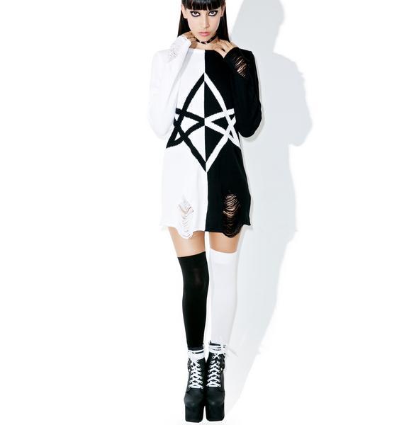 Killstar Hexagram Split-Knit Sweater