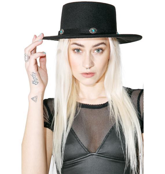 Gemstoned Wide Brim Hat