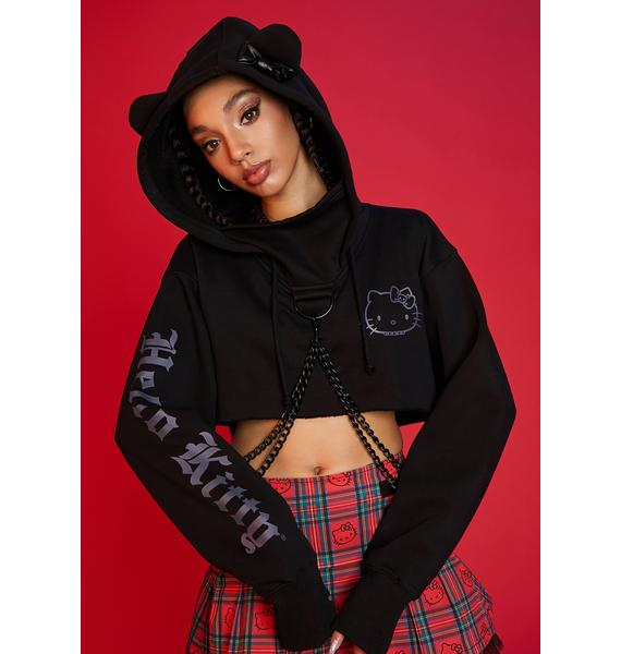 Dolls Kill x Hello Kitty Charming Troublemaker Cropped Hoodie