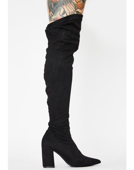 Suede Fantasized Lie Thigh High Boots