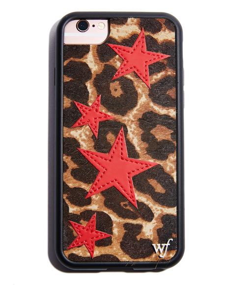 Leopard Red Stars iPhone Case