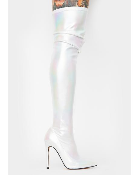 White Bravvo Thigh High Boots