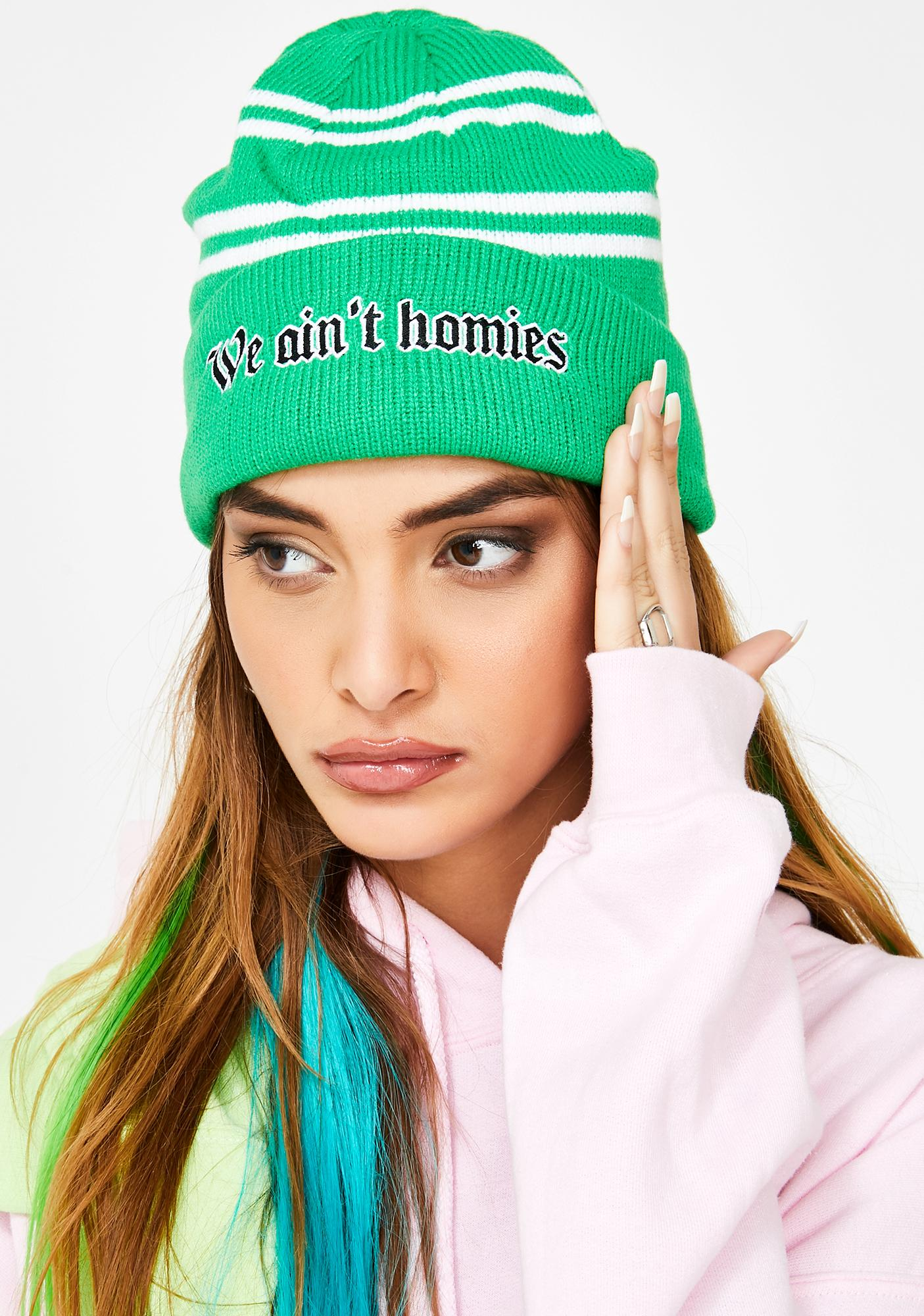 BROKEN PROMISES CO We Ain't Homies Stripe Beanie