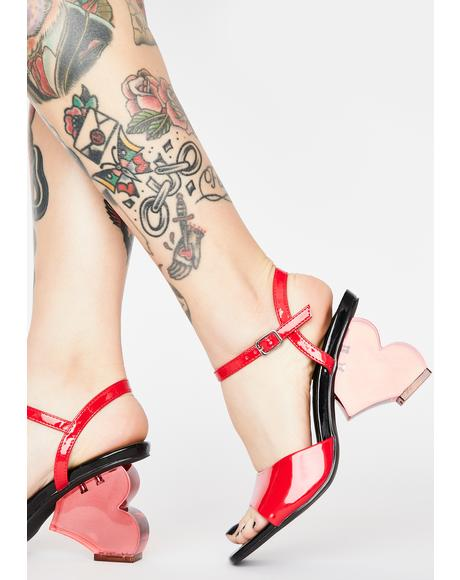Crushed Romance Heart Heels
