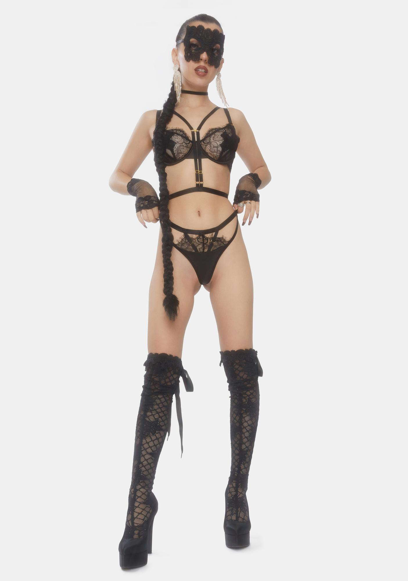 Wolf & Whistle Nevada Satin Lace Strappy Thong