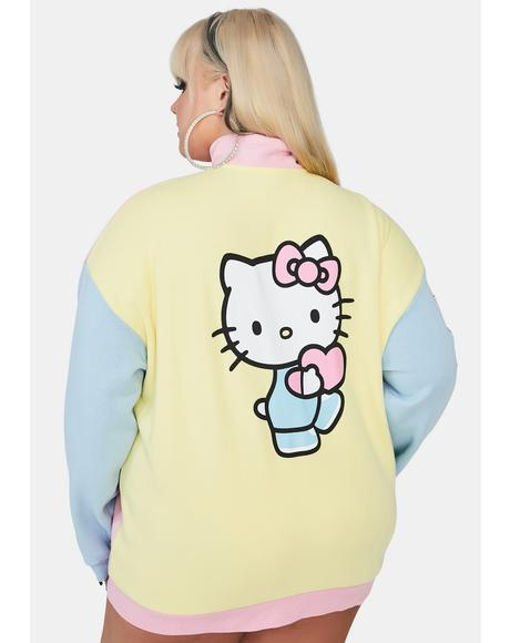 Curve Hello Kitty Color Contrast Panel Sweatshirt