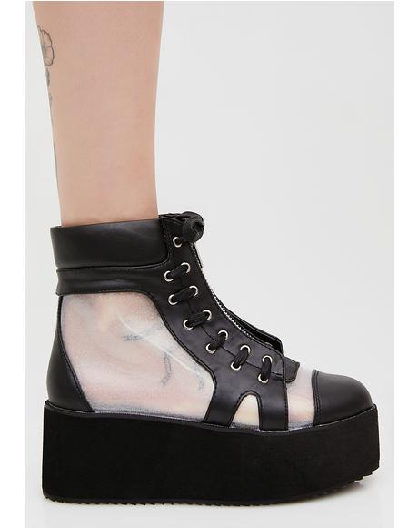 See-Thru Holographic Platform Ankle Boots