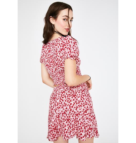 Motel Red Butterfly Gaelle Mini Skirt