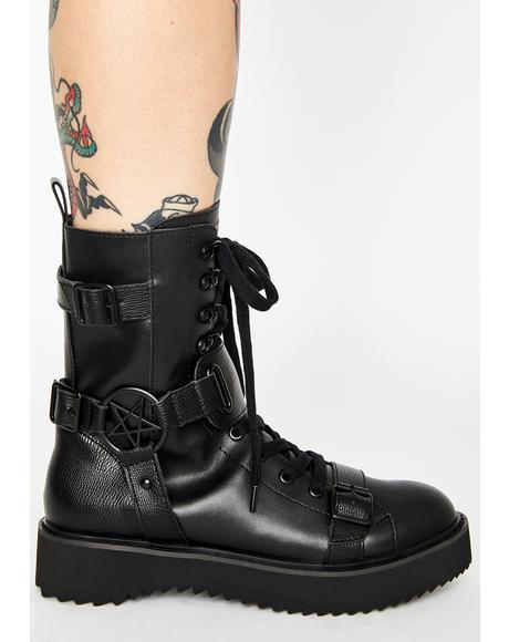 Eris Pentagram Combat Boots