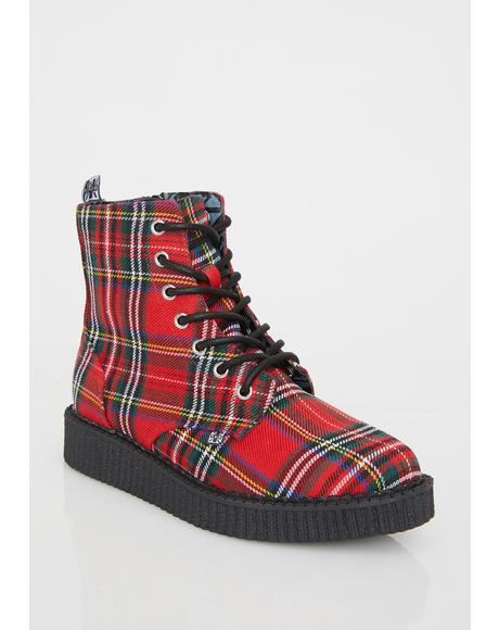 Red Plaid Pointed Lace Up Boots