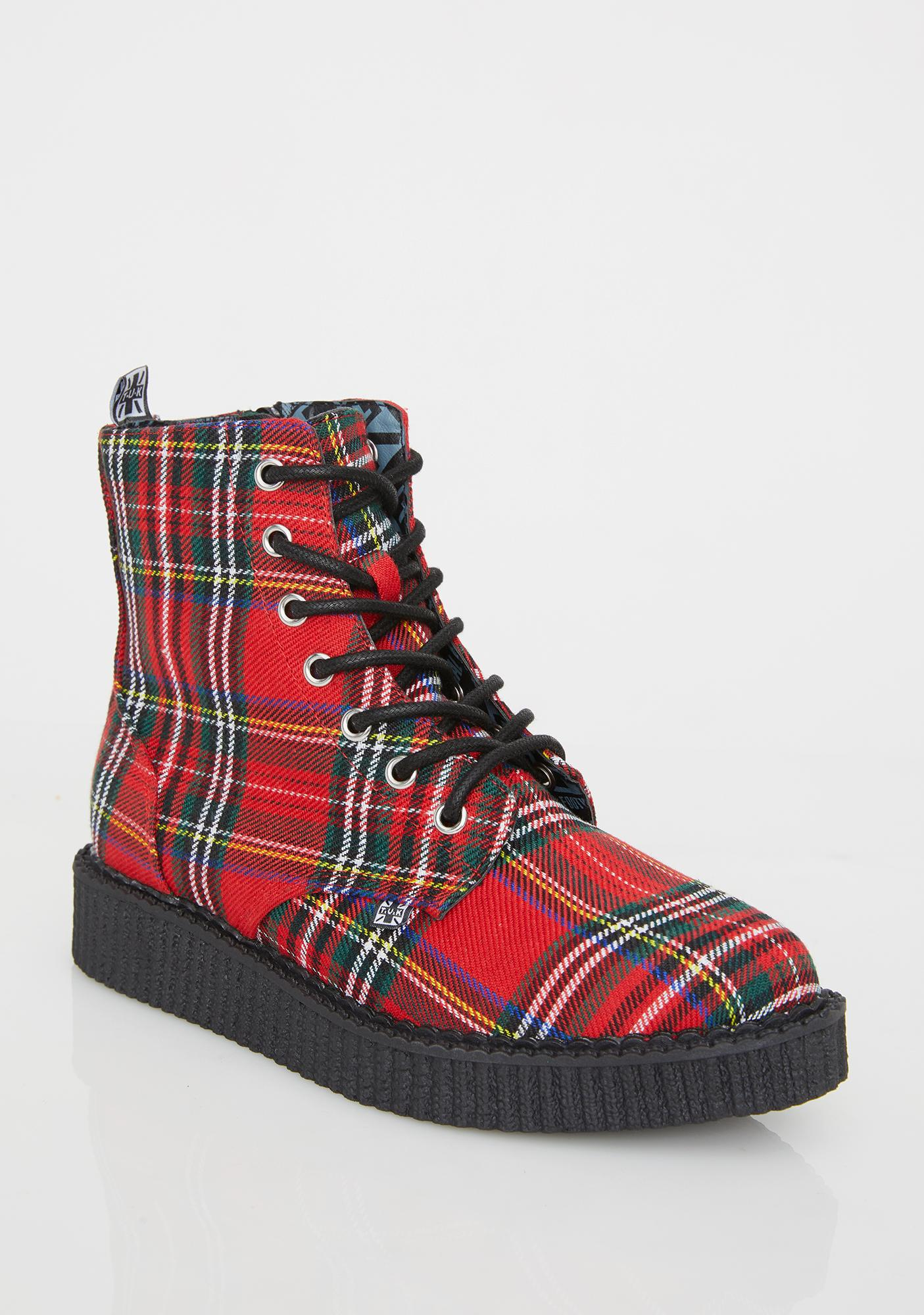 T.U.K. Red Plaid Pointed Lace Up Boots
