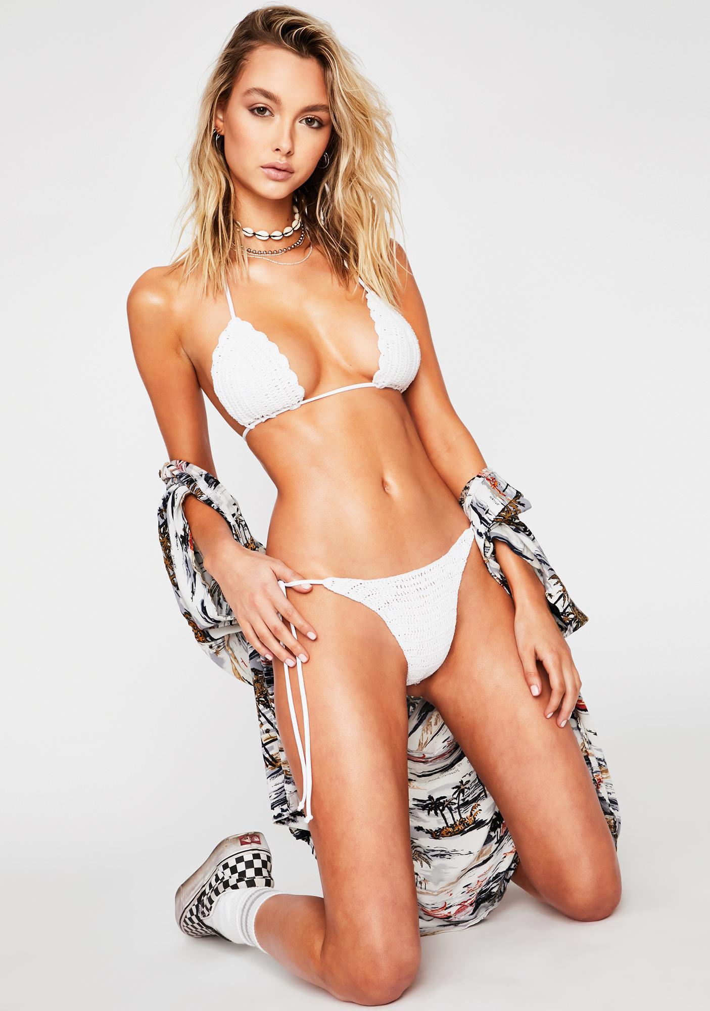 Frankies Bikinis White Haze Crochet Bikini Top