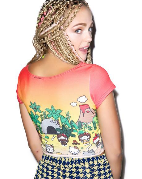 Hello Kitty Caveman Short Sleeve Crop Top