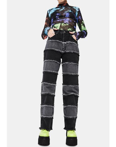 Charcoal Infringement Stripe Panel Jeans